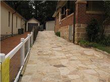 Sandstone Patio Walway, Flagstone Pavement, Pietra Australe Gialla Yellow Sandstone Flagstone