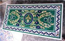 Malachite Semi Precious Stone Inlay Dinning Table Top