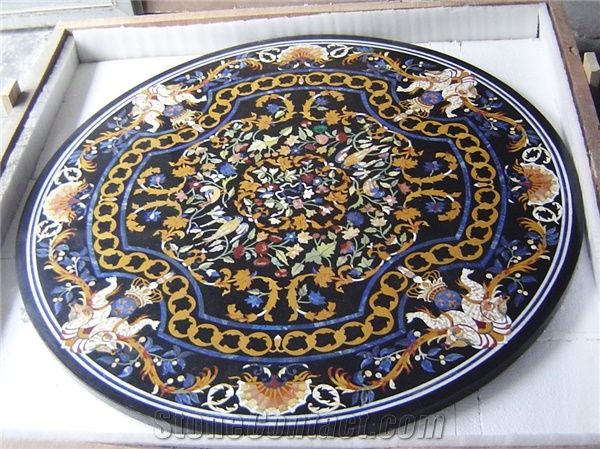 Round Marble Inlay Table Top From India Stonecontact Com