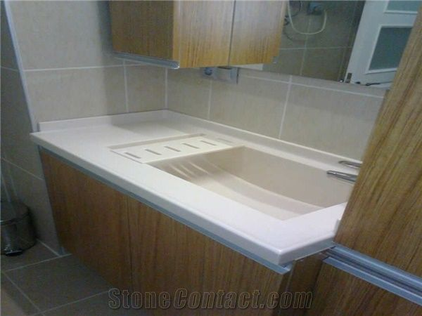 Cameo White Corian Solid Surface Bathroom Top from