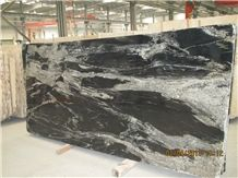 China Cosmos Black Granite Slab,Black Swan Granite Tiles with Grey Sand Veins for Floor Covering,Exterior Building Wall Cladding