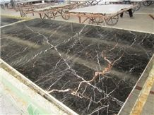 China Golden Portoro Black Tulip Marble Slabs Tile Polished Panel for Hotel Floor Covering,Wall Cladding with Gold Vein