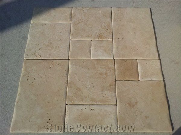 Ivory Travertine Pillow Edges Beige Travertine Flooring