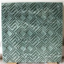 3d Cnc Green Feature Carving Stone Panel, Green Marble Building Walling