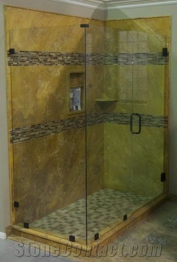 Gold Travertine Shower Panel From China Stonecontact Com