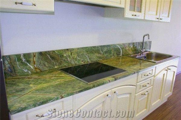 Rain Forest Green Marble Kitchen Countertop