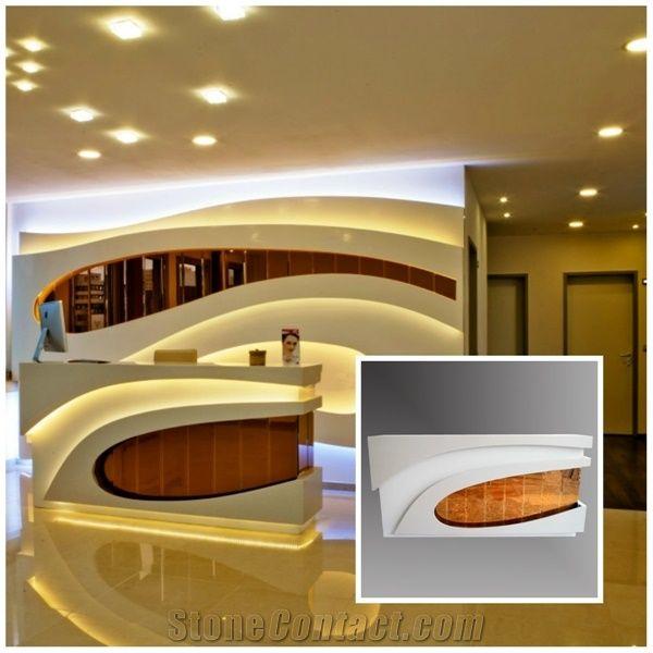 Modern Luxury Hotel Salon Reception Counter Illuminated
