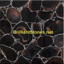 Black Agate Semiprecious Stone