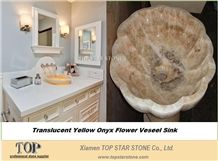 Honey Yellow Onyx Art Sink Flower Shape