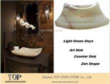 Light Green Onyx Art Sink(Zen Shape)