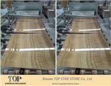 Turkey Brown Wood Vein Onyx Floor Tiles