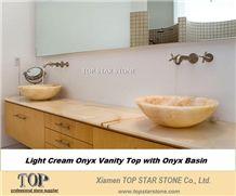 Yellow Onyx Bathroom Above Top Sink