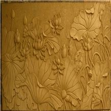 Beige Sandstone Wallest Relief,Flower Embossment