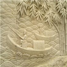Chinese Style Wall Decoration Art Stone Relief, White Marble Reliefs