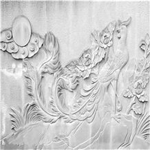 Handcarved Wall Relief, White Granite Wall Reliefs