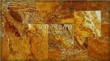 Golden River Travertine Pattern, Gold Travertine Tiles