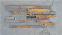 China Rusty Culture Stone/Ledgestone/Multicolor Stone Panel/Wall Panel 40x10cm More Brown