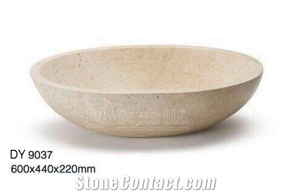 Stone Vessel Sinks Cheap : Crema Marfil Cheap Marble Bowls, Wholesale Stone Vessel Sinks ...