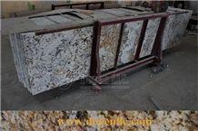 Snow Forest Brazil Granite Prefab Kitchen Countertops Laminated Full Bullnose Edge