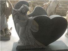 India Black Granite Angel Gravestone with Heart Tombstone Design