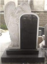 Shanxi Black Granite Angel Gravestone Custom Headstone