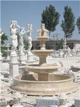 Beige Travertine Pool Fountain with Floor in Side