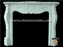 Jade White Marble Fireplace Flower Hand Carved Mantel Hearth