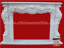 Jade White Marble Fireplace Flower Hand Carved Surround Hearth Hot