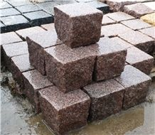 G354 Red Granite Paving Cube Stone