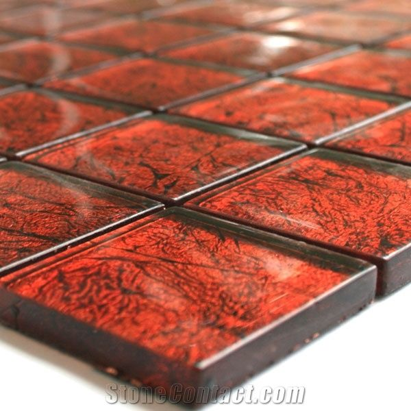 Glass Mosaic Tiles 48x48x8mm Red Metal From Germany Stonecontact Com