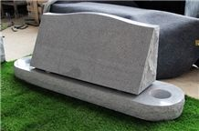 Light Gray G633 Polished Slant Marker Monument