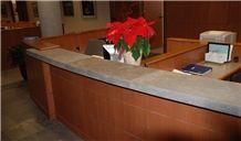 Flint Hills Limestone Gray Honed Reception Desk Top, 3/8