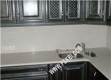 Pure White Quartz Stone Kitchen Worktops