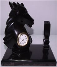 Black Marble Pen Holder with Clock