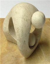 Cuervo Travertine Carved World Behind Man