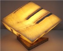 Translucent Yellow Onyx Cube Lamp, Miel Yellow Onyx Lamps