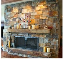 "Montana Gold Split Finish 3""-6"" Ledge Stone Fireplace Surround"