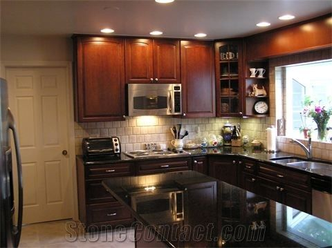 Absolute Black Granite Kitchen Counter Tops W 6 Backsplash And Cabinet From United States Stonecontact Com