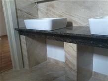 Bathroom Counter - Breccia Sarda and Baltic Brown Materials