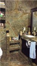 Bathroom Design with Indian Rain Forest Green Marble