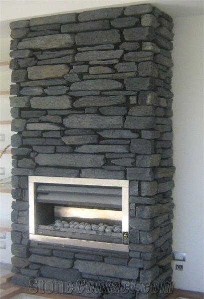 Otago Schist Stone Fireplace Decorating, Grey Otago Schist ...