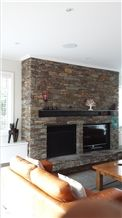 Hyde Brown Schist Stone Fireplace