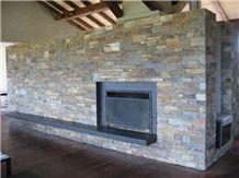 Bookleaf Bluestone Masonry Wall Fireplace Decorating