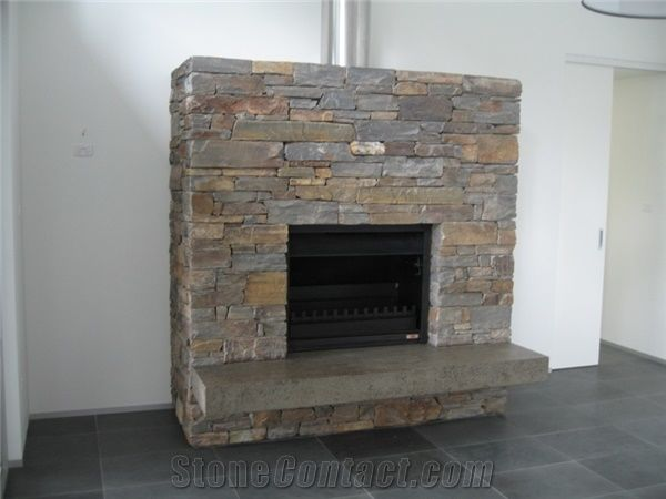 Wistow Bluestone Dry Stacked Fireplace Surround From