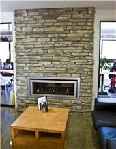 Alexandra Brown Schist Rustic Ledge ​Stone Fireplace Wall Decorating