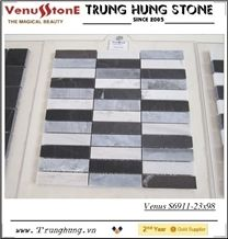 23*98 Black Gray White Polished Marble Mosaic Tiles