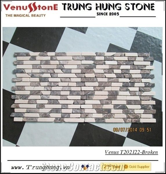 Multicolor Broken Edge Tumbled Marble Mosaic Tiles From