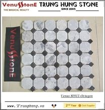 Vietnam Gray Octagon Marble Mosaic Tile Polished with Black Dots