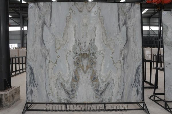 Bookmatched Calacatta Blue Spray Wave China Marble