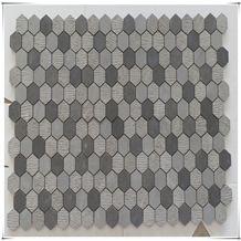 Mixed Finishes Basalt Stone Mosaic/ Grey Basalt Hexagon Mosaic